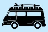 Surf bus silhouette — ストックベクタ