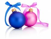 Christmas ball Blue and Pink with ribbon bow Isolated on white b — Stock Photo