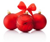 Three Red decorations Christmas ball with ribbon bow Isolated on — Stock Photo