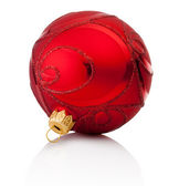 Red decorations Christmas ball Isolated on white background — Stock Photo