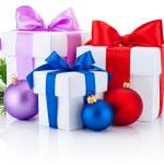 Three white boxs tied ribbon bow, pine tree branch and christmas — Stock Photo #60641093