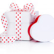 Two White boxs tied satin ribbon bow with heart symbol Isolated — Stock Photo #63664909
