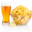 Glass of beer and Potato chips in glass bowl isolated on white b — Stock Photo #66394419