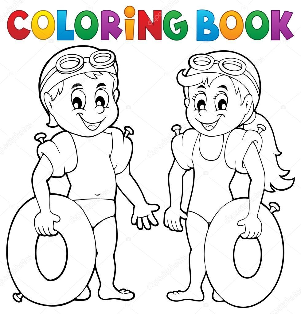 kleurplaat boek jongen en meisje zwemmers stockvector
