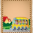 Parchment with school bus 1 — Stock Vector #52812423