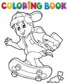 Coloring book school boy theme 1 — Stock Vector