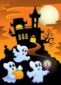 Haunted mansion with ghosts 1 — Stock Vector