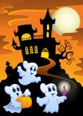 Haunted mansion with ghosts 1 — Stockvector
