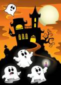 Haunted mansion with ghosts 2 — Stockvector