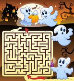 Maze 3 with Halloween thematics — Stock Vector