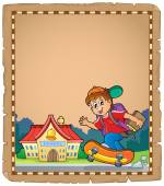 Parchment with boy near school — Stock Vector