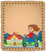 Parchment with girl near school — Stock Vector