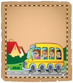 Parchment with school bus 1 — Stock Vector