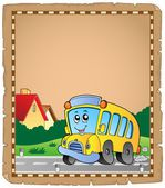 Parchment with school bus 2 — Stock Vector