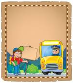 Parchment with school bus 3 — Stock Vector