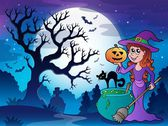 Scenery with Halloween character 1 — Stock Vector