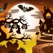 Theme with Halloween silhouette 2 — Stock Vector #53963413
