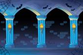 Haunted castle interior background — Vector de stock