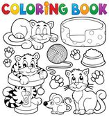Coloring book cat theme collection — Stock Vector