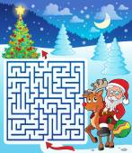 Maze 3 with Santa Claus and deer — Stock Vector