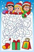 Maze 10 with Christmas theme — Stock Vector