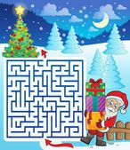 Maze 3 with Santa Claus and gifts — Stock Vector