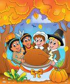 Thanksgiving pilgrim theme 6 — Stock Vector