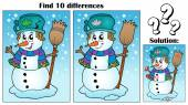 Find differences theme with snowman — Stock Vector