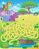 Maze 16 with tropical animals — Stock Vector