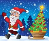 Santa Claus walk theme 2 — Stock Vector