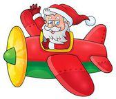 Santa Claus in plane theme image 1 — Stock Vector