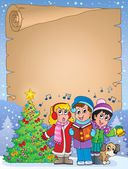 Parchment with carol singers — Stock Vector