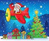 Weihnachtsmann im Flugzeug Thema Bild 9 — Stockvektor