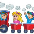 Train with happy kids — Stock Vector #62608005