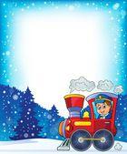 Winter theme with locomotive — Stock Vector