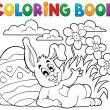 Coloring book Easter rabbit theme 2 — Stock Vector #66216765