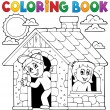 Coloring book children playing in house — Stock Vector #67859371