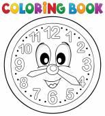 Coloring book clock theme 2 — Stock Vector