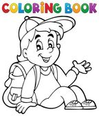 Coloring book pupil theme 4 — Stock Vector