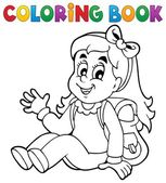 Coloring book pupil theme 5 — Stock Vector