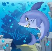 Image with shark theme 4 — Vector de stock