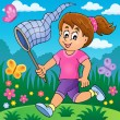 Girl chasing butterflies theme image 2 — Stock Vector #70903315