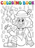Coloring book with cheerful clown 4 — Stock Vector