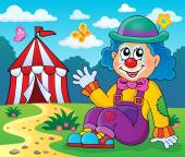 Sitting clown theme image 4 — Stock Vector