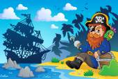 Sitting pirate theme image 2 — Stock Vector