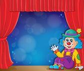 Sitting clown theme image 3 — Stock Vector