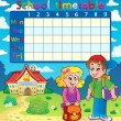 School timetable with two children — Stock Vector #72054339
