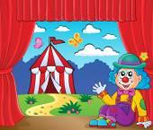 Sitting clown theme image 6 — Stock Vector