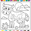 Coloring book cow theme 2 — Stock Vector #73112905