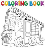 Coloring book fire truck theme 1 — Stock Vector